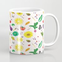vegetables Mugs featuring Delicious Vegetables by Viola Brun Designs