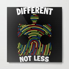 Different not less Autism Awarenss DNA Metal Print