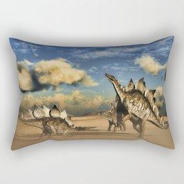 Stegosaurus dinosaur in the desert Rectangular Pillow