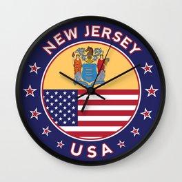 New Jersey, USA States, New Jersey t-shirt, New Jersey sticker, circle Wall Clock