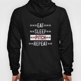 Gift for Baseball and Softball Pitchers Eat Sleep Pitch Repeat  Hoody