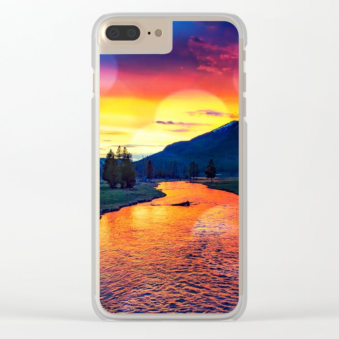 Sunset at Yellowstone Clear iPhone Case