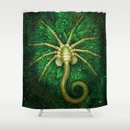 Facehugger (green) Shower Curtain