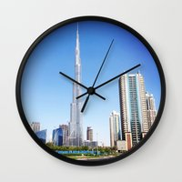 wiz khalifa Wall Clocks featuring Dubai Burj Khalifa by MyndVu