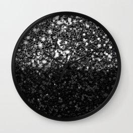 Black & Silver Glitter Gradient Wall Clock