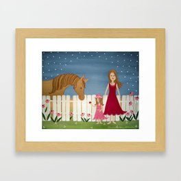 Apple Blossom (Blue Skies) - Girl & Horse Kids Art Framed Art Print