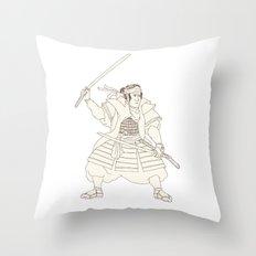 Samurai Warrior Katana Fight Stance Woodblock Throw Pillow
