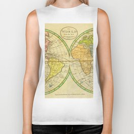 Vintage World Map 1798 Biker Tank