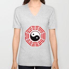 Yin Yang Black And White Red Mandala Yoga China Gift Unisex V-Neck