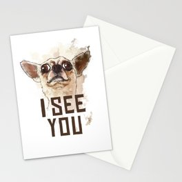 Funny Chihuahua illustration, I see you Stationery Cards