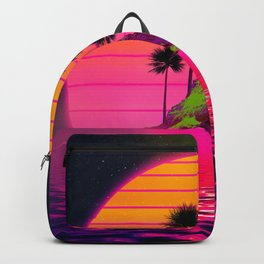 Synthwave Retro 80s Sunset Beach Island with palms Gift design Backpack