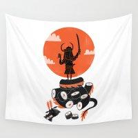 samurai Wall Tapestries featuring Samurai Sushi by Wharton