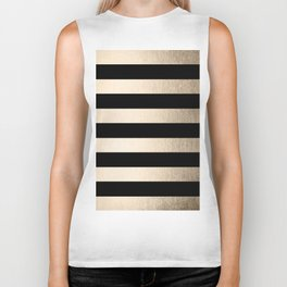 Simply Striped White Gold Sands on Midnight Black Biker Tank