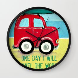 One day I will travel the world Wall Clock