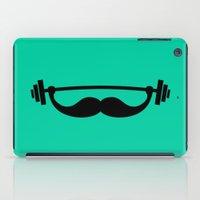 fitness iPad Cases featuring Minimal Funny Fitness Mustache / Beard by badbugs_art