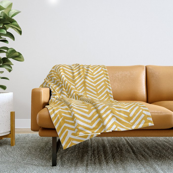 Boho Mudcloth Pattern, Summer Yellow Throw Blanket