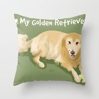golden retriever Throw Pillows featuring Golden Retriever by Bark Point Studio