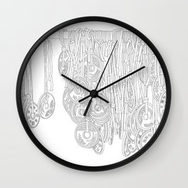 Happy Five Yen Coins - Line Art Wall Clock