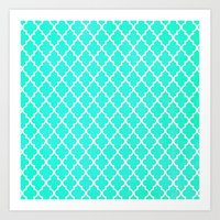 morrocan Art Prints featuring Morrocan Aqua by BUT FIRST COFFEE