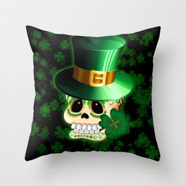 St Patrick Skull Cartoon  Throw Pillow