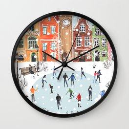 winter town Wall Clock