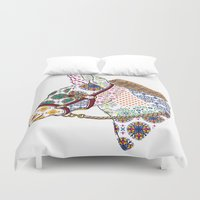 donkey Duvet Covers featuring DONKEY by Mai Kurihara