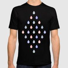 Rose quartz, serenity blue and lilac grey raindrops Black MEDIUM Mens Fitted Tee