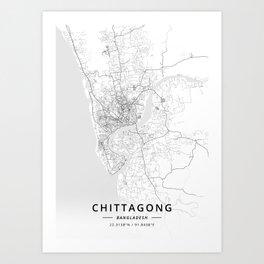 Chittagong, Bangladesh - Light Map Art Print
