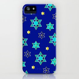 Hanukkah Jewish Star Geometric Pattern in Blue Contemporary iPhone Case