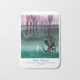 Pulpo extraterrestre y conejo 2 por Diego Manuel. Bath Mat