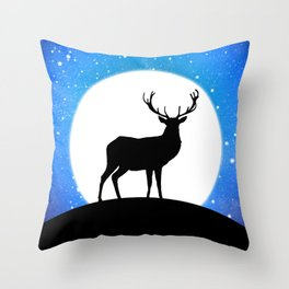 Deer and Moon Throw Pillow