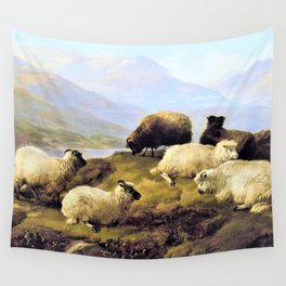 Thomas Sidney Cooper - Sheep resting in a Highland landscape - Digital Remastered Edition Wall Tapestry