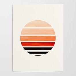 Burnt Sienna Minimalist Mid Century Modern Watercolor Stripes Sunset Circle Abstract Pattern Poster