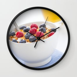 Healthy breakfast with muesli, fresh fruit, orange juice and coffee Wall Clock