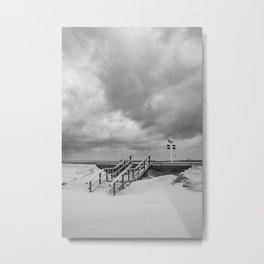 A staircase to thunder - Scheveningen The Hague Netherlands photo | Black and white monochrome noir beach nature urban street photography art print Metal Print
