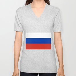 Russian Flag In Red White And Blue Unisex V-Neck