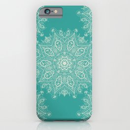 Teal and Lace Mandala iPhone Case