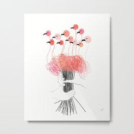 Bouquet of Flamingos Metal Print