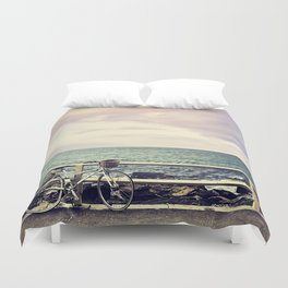 Bicycle on Fence Duvet Cover