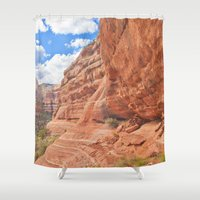 hiking Shower Curtains featuring Ruin Hiking Sedona, Arizona  by Ashli Truchon