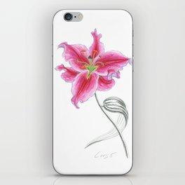 Lily 02 Botanical Flower * Pink Stargazer Rubrum Lily  iPhone Skin