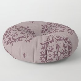Deep Purple Pink-Purple Damask Scroll Pattern 2021 Color of the Year Epoch & Spiced Mulberry Floor Pillow