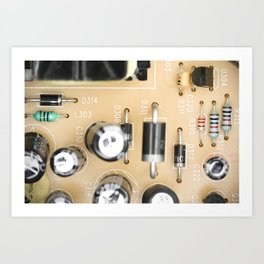 Dusty electrical components macro top view Art Print