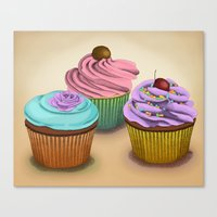 cupcakes Canvas Prints featuring Cupcakes!  by Megs stuff...