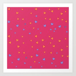 St. Valentine's Day Pattern. Pink pattern, blue and yellow hearts Art Print