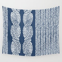 Cable Row Navy 1 Wall Tapestry