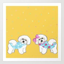 Bichon Frise Holidays yellow cute dogs, Christmas gift, holiday gift, birthday gift, dog, Bijon Art Print