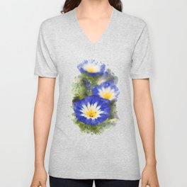Watercolor Morning Glories Unisex V-Neck