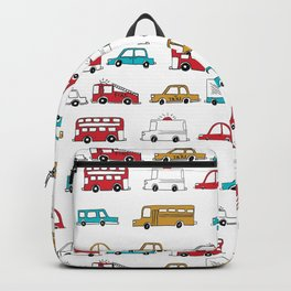 Cars trucks buses city highway transportation illustration cute kids room gifts Backpack