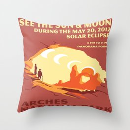 Vintage poster - Arches National Park Throw Pillow